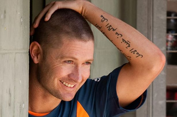 MICHAEL CLARKE'S ARABIC TATTOO AND BD VS WI 2ND TEST DAY 1